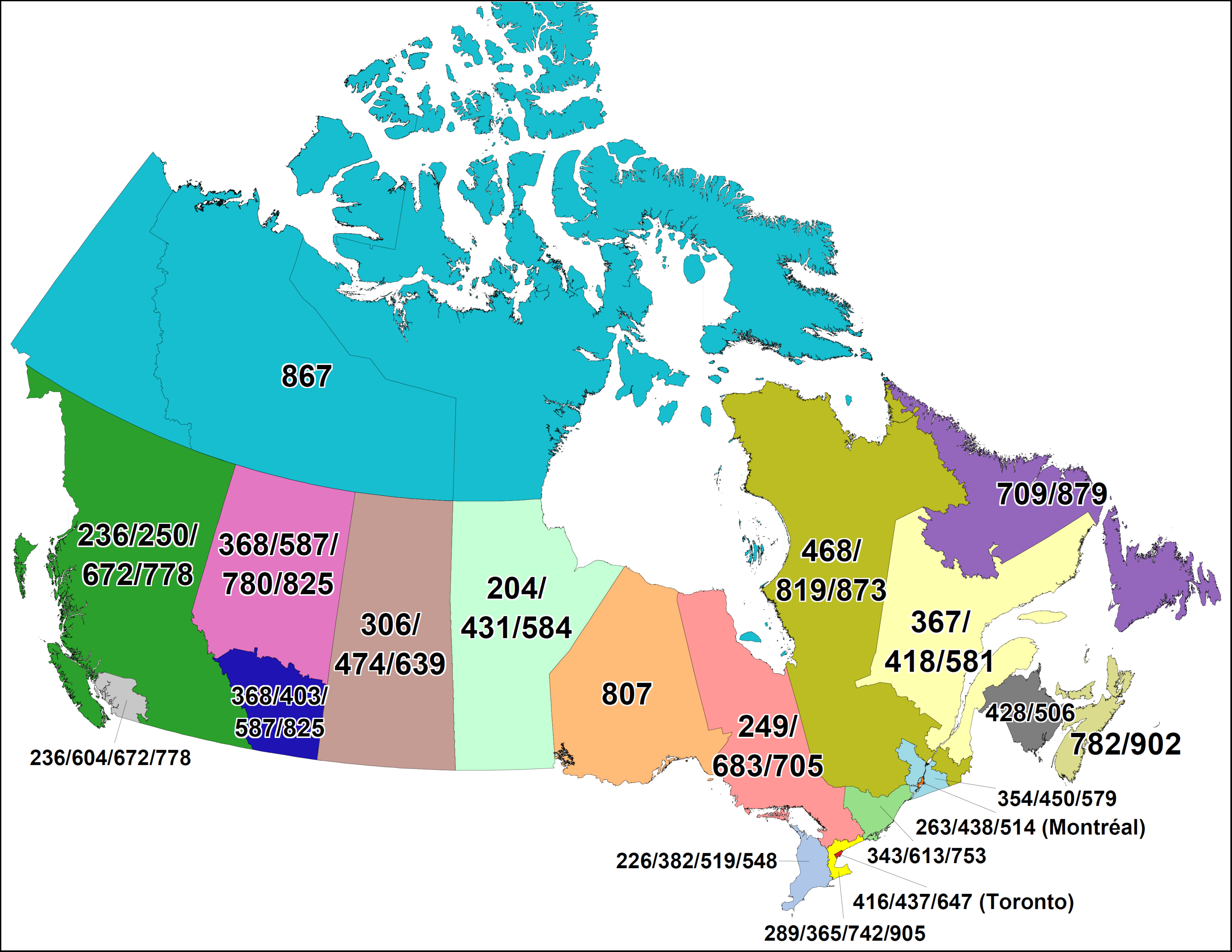 Map Of Canada CNA  Canadian Area Code Maps Map Of Canada